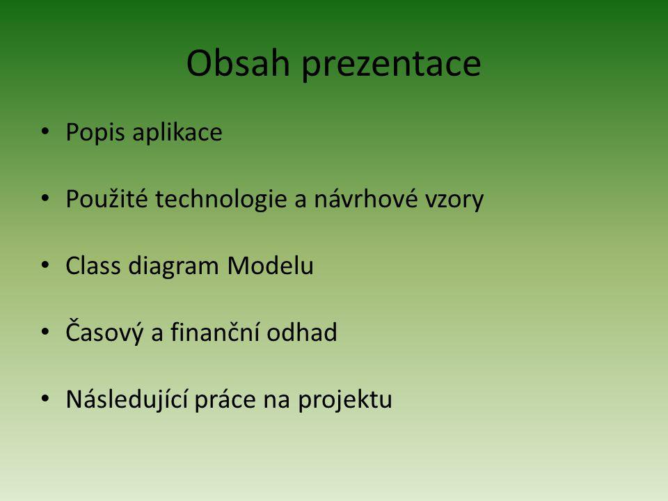 Obsah prezentace Popis aplikace Použité technologie a návrhové vzory Class diagram Modelu Časový a finanční odhad Následující práce na projektu
