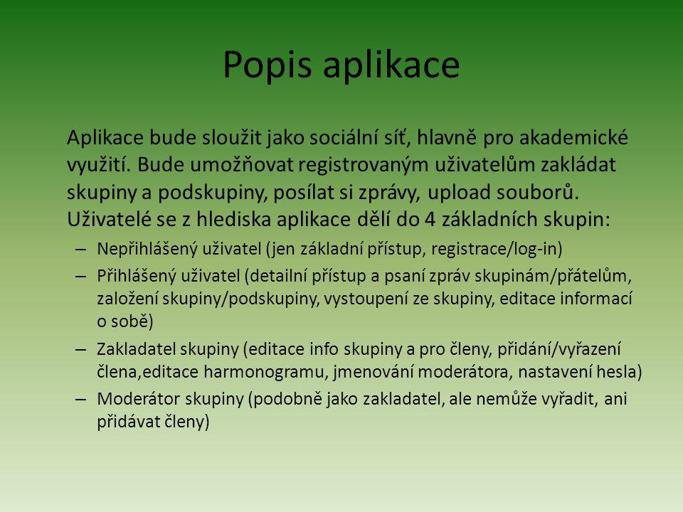 Popis aplikace Aplikace bude sloužit jako sociální síť, hlavně pro akademické využití.