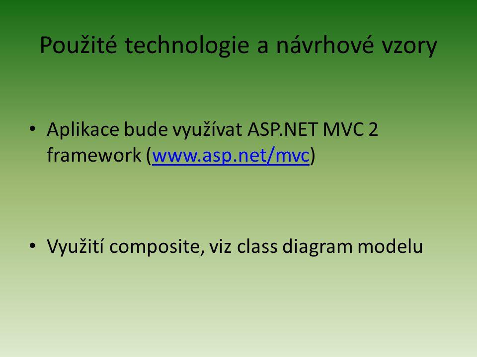 Použité technologie a návrhové vzory Aplikace bude využívat ASP.NET MVC 2 framework (www.asp.net/mvc)www.asp.net/mvc Využití composite, viz class diagram modelu