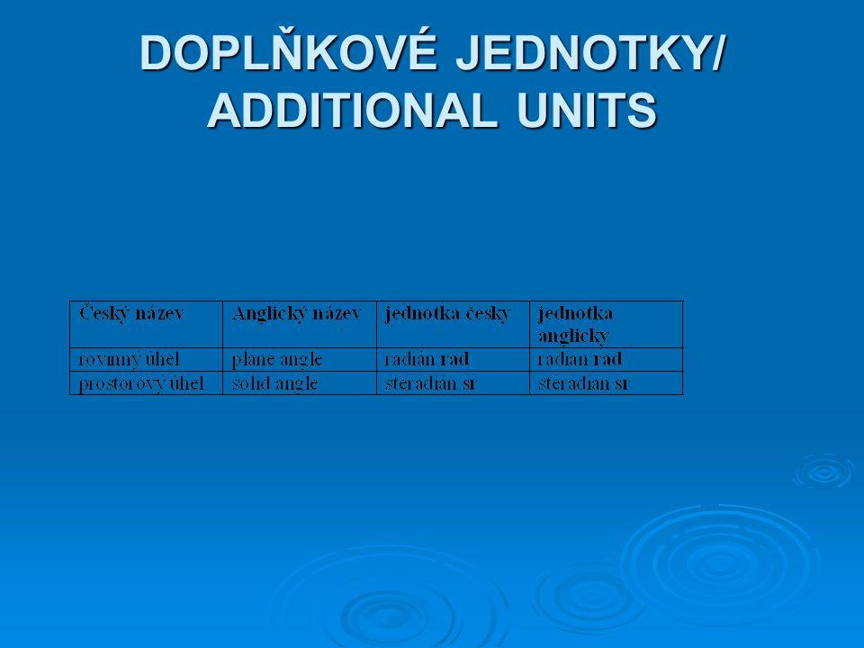 DOPLŇKOVÉ JEDNOTKY/ ADDITIONAL UNITS
