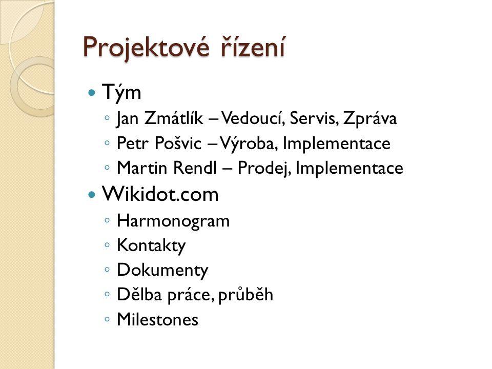Projektové řízení Tým ◦ Jan Zmátlík – Vedoucí, Servis, Zpráva ◦ Petr Pošvic – Výroba, Implementace ◦ Martin Rendl – Prodej, Implementace Wikidot.com ◦