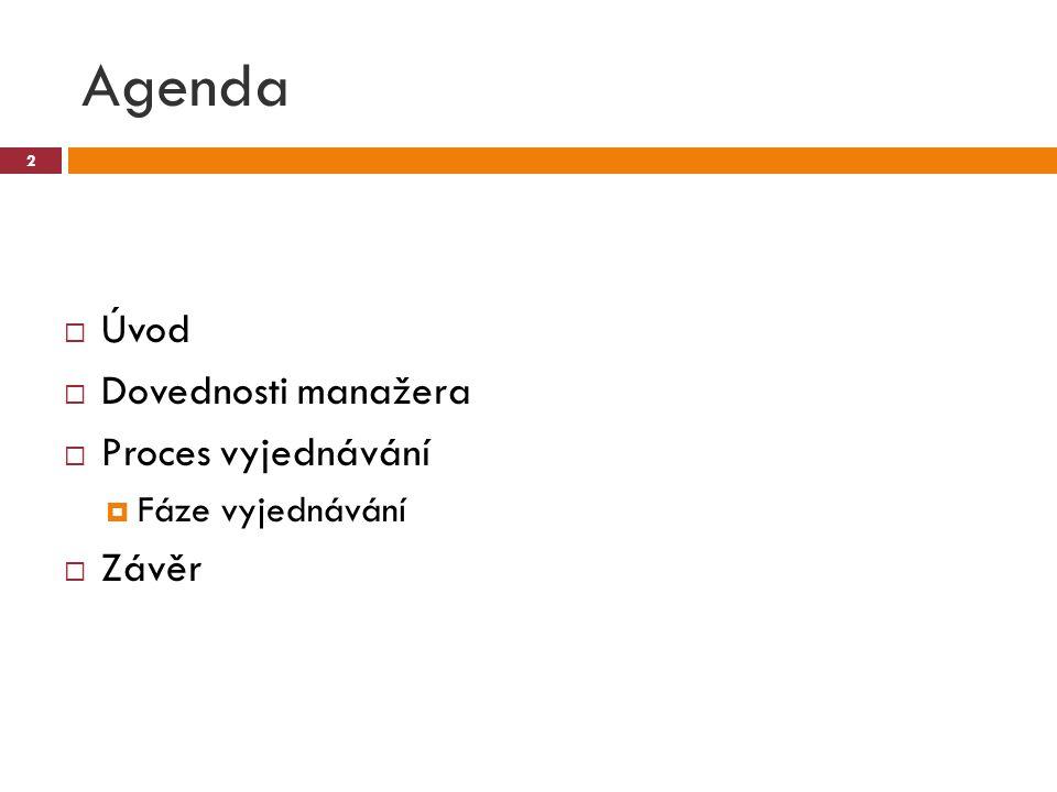 Agenda  Úvod  Dovednosti manažera  Proces vyjednávání  Fáze vyjednávání  Závěr 2
