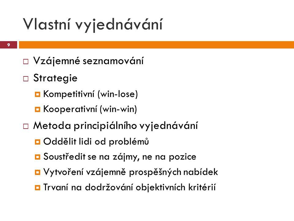 Vlastní vyjednávání  Vzájemné seznamování  Strategie  Kompetitivní (win-lose)  Kooperativní (win-win)  Metoda principiálního vyjednávání  Odděli