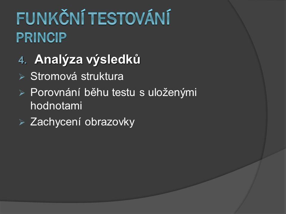 4. Analýza výsledků  Stromová struktura  Porovnání běhu testu s uloženými hodnotami  Zachycení obrazovky