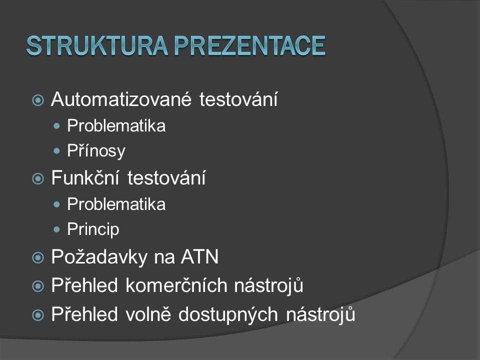  Automatizované testování Problematika Přínosy  Funkční testování Problematika Princip  Požadavky na ATN  Přehled komerčních nástrojů  Přehled volně dostupných nástrojů