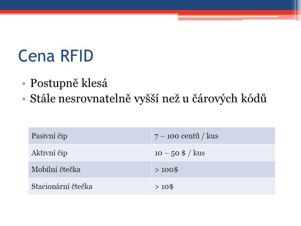 Cena RFID Postupně klesá Stále nesrovnatelně vyšší než u čárových kódů Pasivní čip7 – 100 centů / kus Aktivní čip10 – 50 $ / kus Mobilní čtečka> 100$