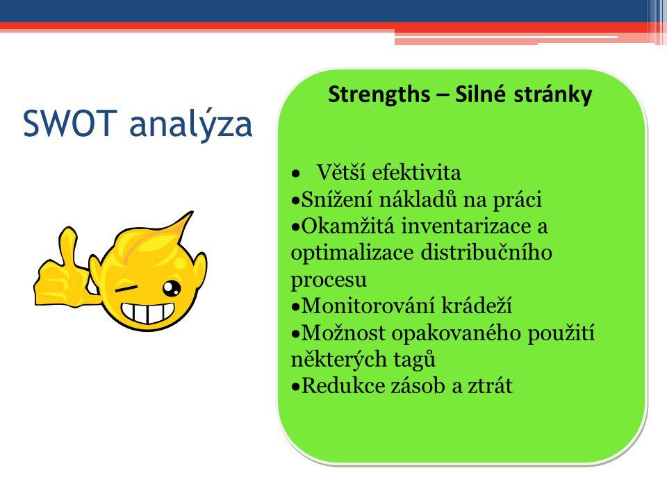 SWOT analýza Strengths – Silné stránky  Větší efektivita  Snížení nákladů na práci  Okamžitá inventarizace a optimalizace distribučního procesu  Monitorování krádeží  Možnost opakovaného použití některých tagů  Redukce zásob a ztrát