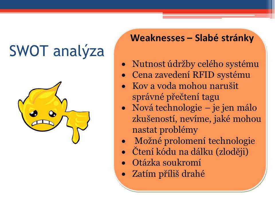 SWOT analýza Weaknesses – Slabé stránky  Nutnost údržby celého systému  Cena zavedení RFID systému  Kov a voda mohou narušit správné přečtení tagu