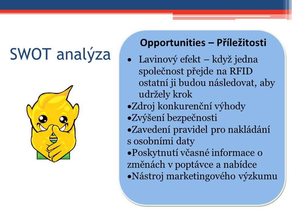 SWOT analýza Opportunities – Příležitosti  Lavinový efekt – když jedna společnost přejde na RFID ostatní ji budou následovat, aby udržely krok  Zdro