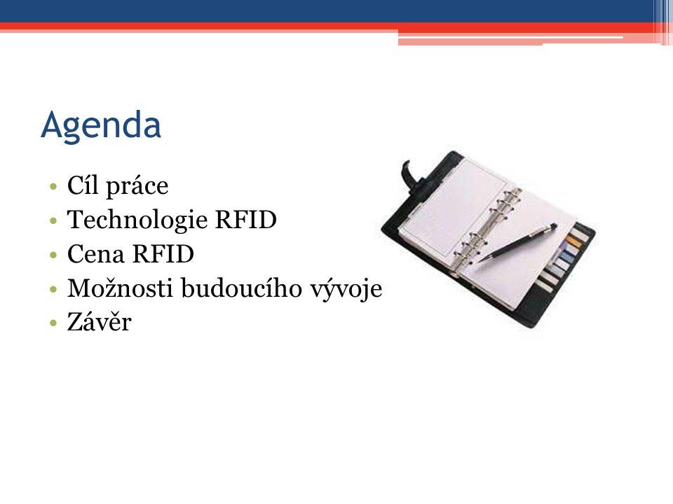 Agenda Cíl práce Technologie RFID Cena RFID Možnosti budoucího vývoje Závěr