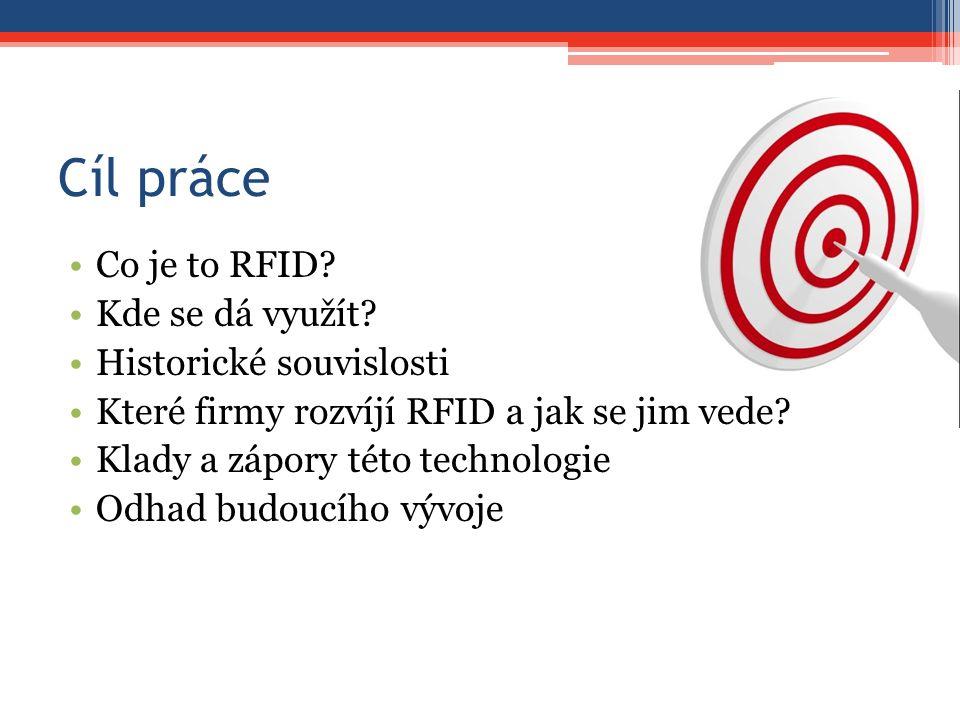Cíl práce Co je to RFID? Kde se dá využít? Historické souvislosti Které firmy rozvíjí RFID a jak se jim vede? Klady a zápory této technologie Odhad bu