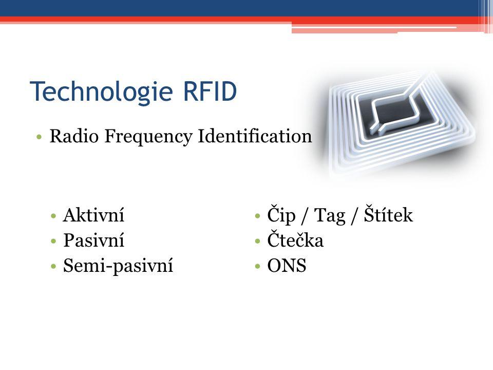Technologie RFID Radio Frequency Identification Aktivní Pasivní Semi-pasivní Čip / Tag / Štítek Čtečka ONS