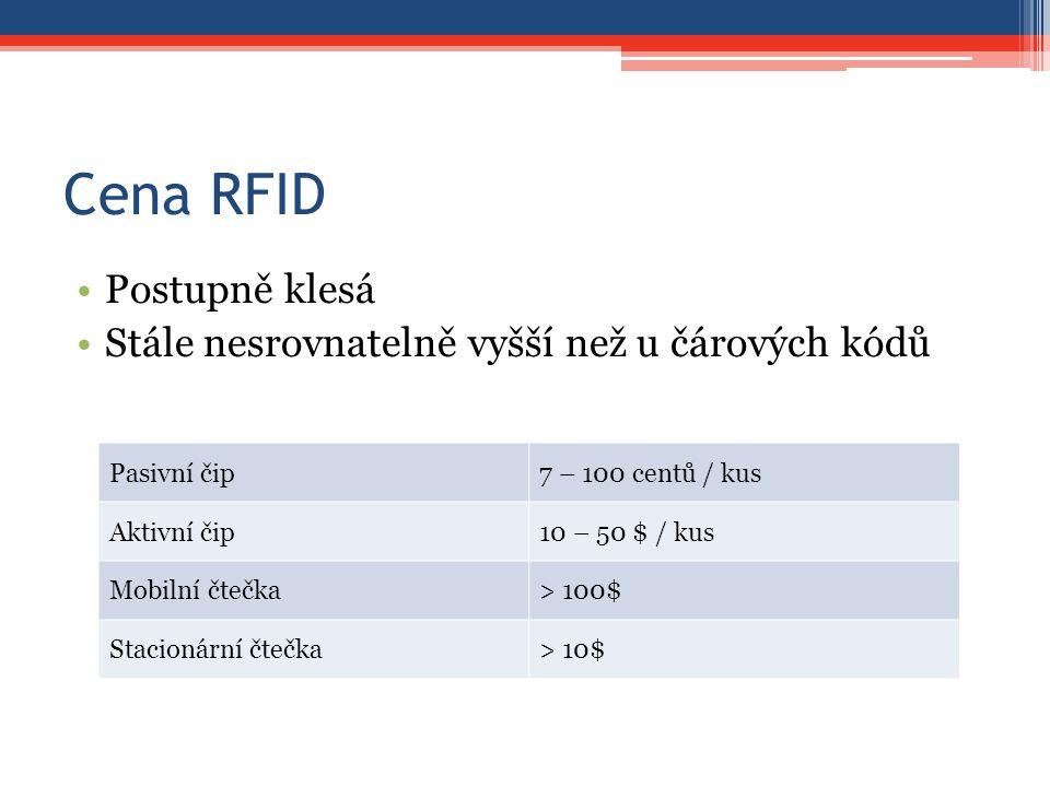 Cena RFID Postupně klesá Stále nesrovnatelně vyšší než u čárových kódů Pasivní čip7 – 100 centů / kus Aktivní čip10 – 50 $ / kus Mobilní čtečka> 100$ Stacionární čtečka> 10$