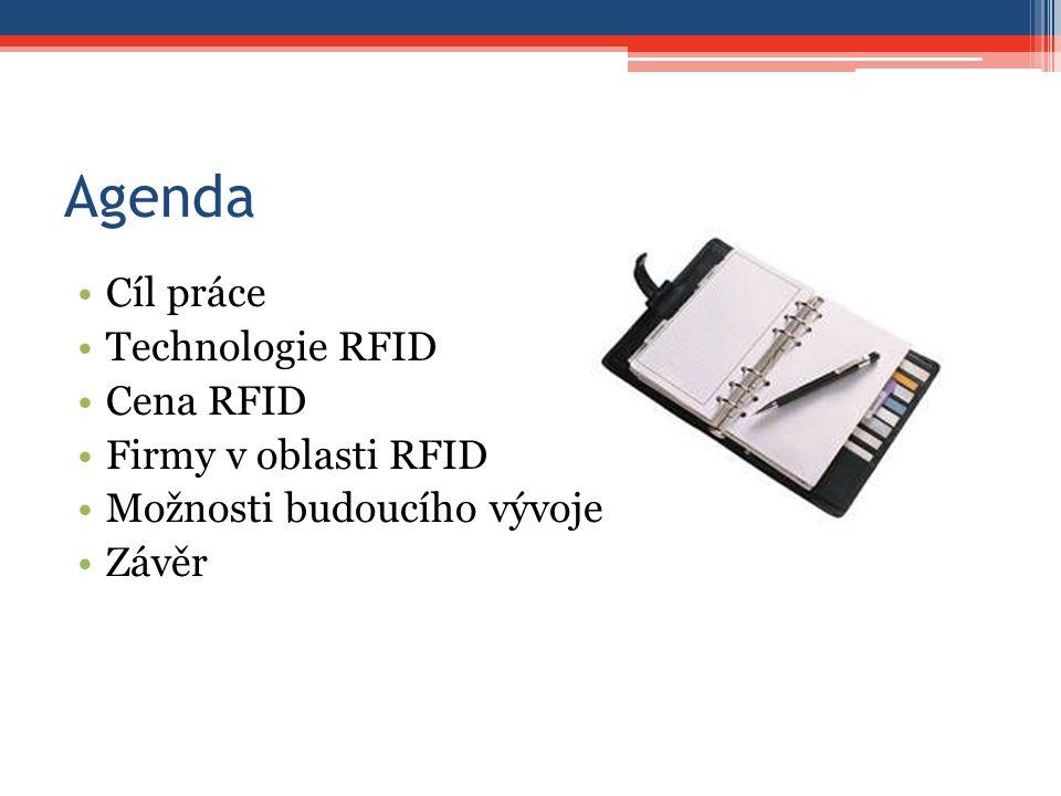 Agenda Cíl práce Technologie RFID Cena RFID Firmy v oblasti RFID Možnosti budoucího vývoje Závěr