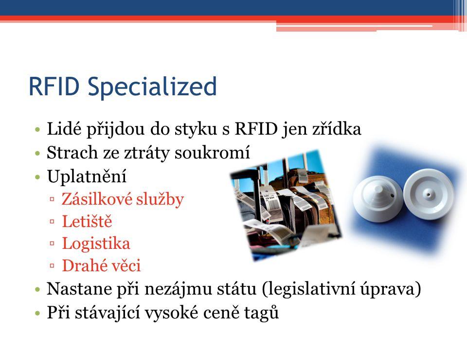 RFID Specialized Lidé přijdou do styku s RFID jen zřídka Strach ze ztráty soukromí Uplatnění ▫Zásilkové služby ▫Letiště ▫Logistika ▫Drahé věci Nastane při nezájmu státu (legislativní úprava) Při stávající vysoké ceně tagů