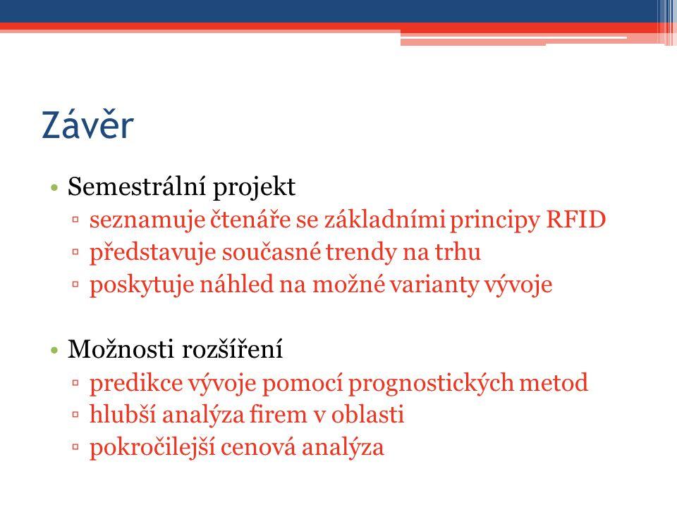 Závěr Semestrální projekt ▫seznamuje čtenáře se základními principy RFID ▫představuje současné trendy na trhu ▫poskytuje náhled na možné varianty vývoje Možnosti rozšíření ▫predikce vývoje pomocí prognostických metod ▫hlubší analýza firem v oblasti ▫pokročilejší cenová analýza