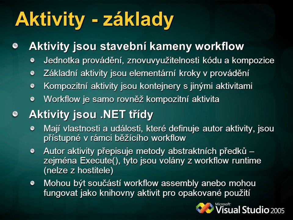 Aktivity - základy Aktivity jsou stavební kameny workflow Jednotka provádění, znovuvyužitelnosti kódu a kompozice Základní aktivity jsou elementární kroky v provádění Kompozitní aktivity jsou kontejnery s jinými aktivitami Workflow je samo rovněž kompozitní aktivita Aktivity jsou.NET třídy Mají vlastnosti a události, které definuje autor aktivity, jsou přístupné v rámci běžícího workflow Autor aktivity přepisuje metody abstraktních předků – zejména Execute(), tyto jsou volány z workflow runtime (nelze z hostitele) Mohou být součástí workflow assembly anebo mohou fungovat jako knihovny aktivit pro opakované použití