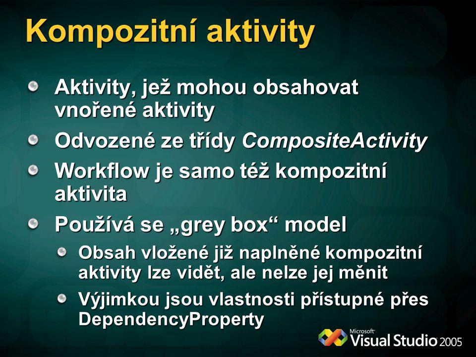 """Kompozitní aktivity Aktivity, jež mohou obsahovat vnořené aktivity Odvozené ze třídy CompositeActivity Workflow je samo též kompozitní aktivita Používá se """"grey box model Obsah vložené již naplněné kompozitní aktivity lze vidět, ale nelze jej měnit Výjimkou jsou vlastnosti přístupné přes DependencyProperty"""