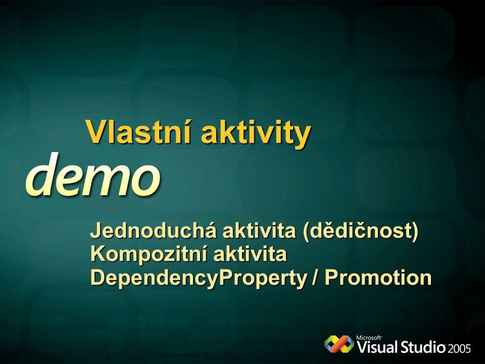 Vlastní aktivity Jednoduchá aktivita (dědičnost) Kompozitní aktivita DependencyProperty / Promotion