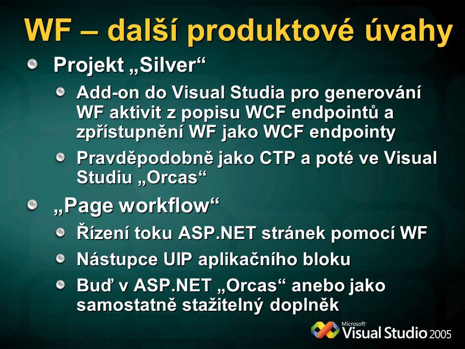 """WF – další produktové úvahy Projekt """"Silver Add-on do Visual Studia pro generování WF aktivit z popisu WCF endpointů a zpřístupnění WF jako WCF endpointy Pravděpodobně jako CTP a poté ve Visual Studiu """"Orcas """"Page workflow Řízení toku ASP.NET stránek pomocí WF Nástupce UIP aplikačního bloku Buď v ASP.NET """"Orcas anebo jako samostatně stažitelný doplněk"""