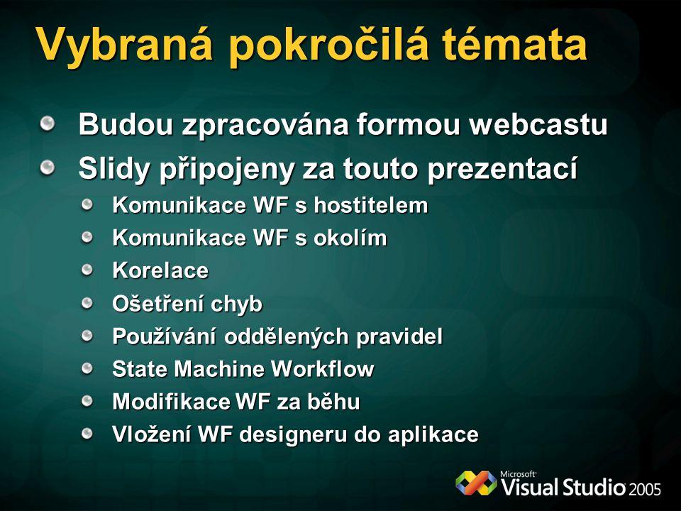 Vybraná pokročilá témata Budou zpracována formou webcastu Slidy připojeny za touto prezentací Komunikace WF s hostitelem Komunikace WF s okolím Korelace Ošetření chyb Používání oddělených pravidel State Machine Workflow Modifikace WF za běhu Vložení WF designeru do aplikace