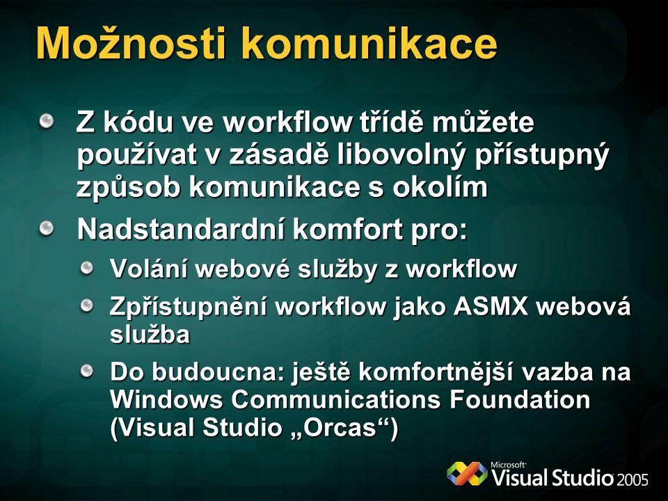 """Možnosti komunikace Z kódu ve workflow třídě můžete používat v zásadě libovolný přístupný způsob komunikace s okolím Nadstandardní komfort pro: Volání webové služby z workflow Zpřístupnění workflow jako ASMX webová služba Do budoucna: ještě komfortnější vazba na Windows Communications Foundation (Visual Studio """"Orcas )"""
