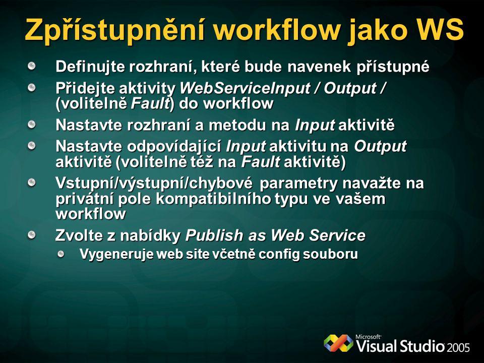 Zpřístupnění workflow jako WS Definujte rozhraní, které bude navenek přístupné Přidejte aktivity WebServiceInput / Output / (volitelně Fault) do workflow Nastavte rozhraní a metodu na Input aktivitě Nastavte odpovídající Input aktivitu na Output aktivitě (volitelně též na Fault aktivitě) Vstupní/výstupní/chybové parametry navažte na privátní pole kompatibilního typu ve vašem workflow Zvolte z nabídky Publish as Web Service Vygeneruje web site včetně config souboru