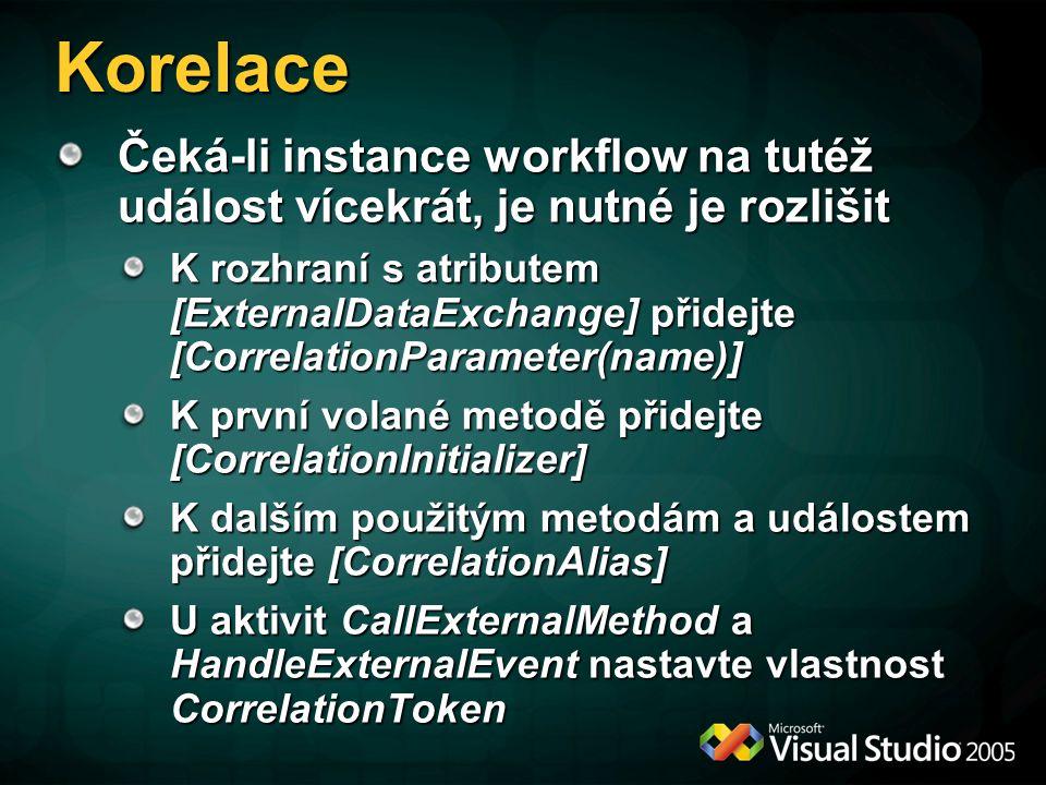 Korelace Čeká-li instance workflow na tutéž událost vícekrát, je nutné je rozlišit K rozhraní s atributem [ExternalDataExchange] přidejte [CorrelationParameter(name)] K první volané metodě přidejte [CorrelationInitializer] K dalším použitým metodám a událostem přidejte [CorrelationAlias] U aktivit CallExternalMethod a HandleExternalEvent nastavte vlastnost CorrelationToken