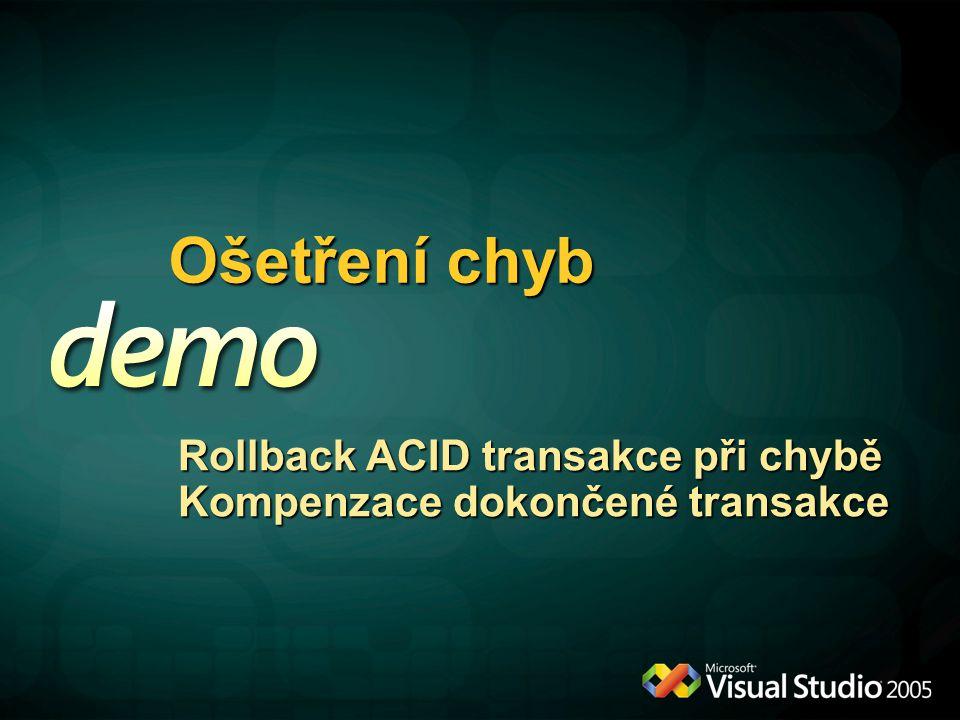Ošetření chyb Rollback ACID transakce při chybě Kompenzace dokončené transakce