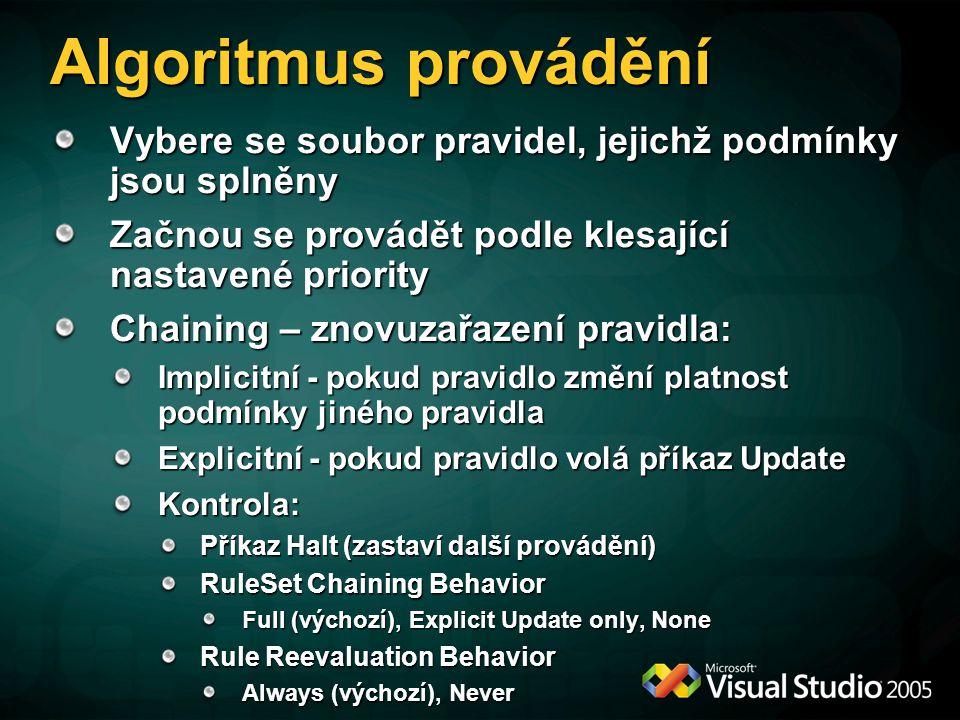 Algoritmus provádění Vybere se soubor pravidel, jejichž podmínky jsou splněny Začnou se provádět podle klesající nastavené priority Chaining – znovuzařazení pravidla: Implicitní - pokud pravidlo změní platnost podmínky jiného pravidla Explicitní - pokud pravidlo volá příkaz Update Kontrola: Příkaz Halt (zastaví další provádění) RuleSet Chaining Behavior Full (výchozí), Explicit Update only, None Rule Reevaluation Behavior Always (výchozí), Never