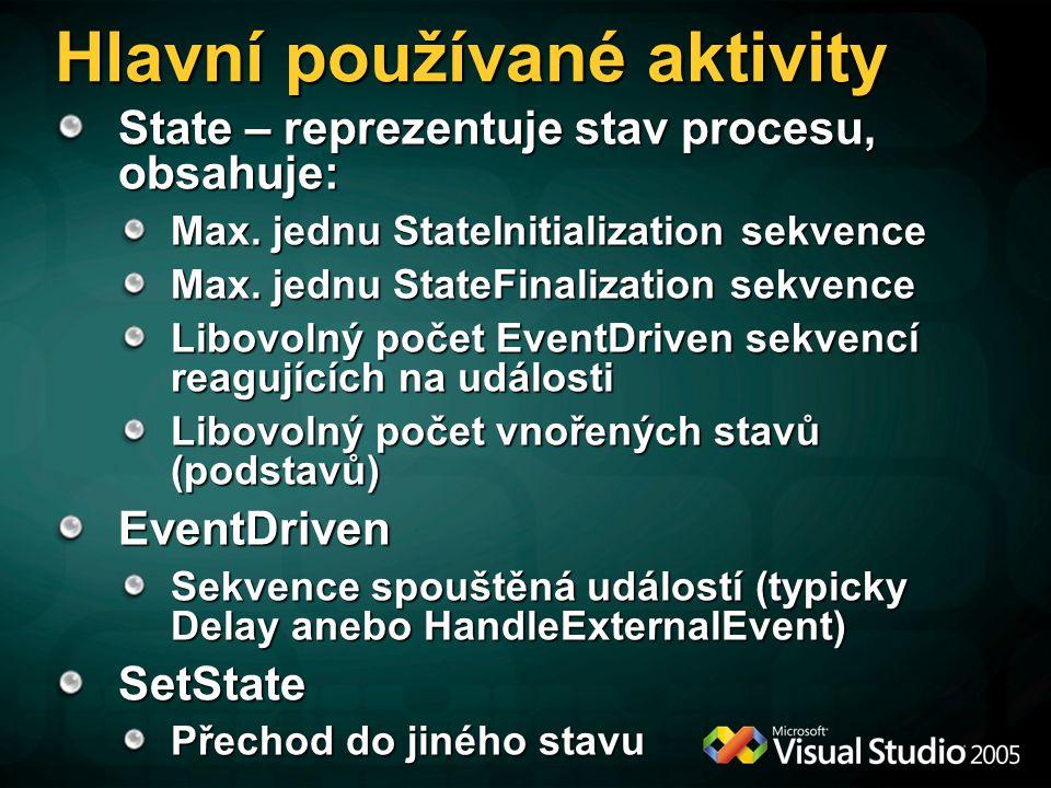 Hlavní používané aktivity State – reprezentuje stav procesu, obsahuje: Max.