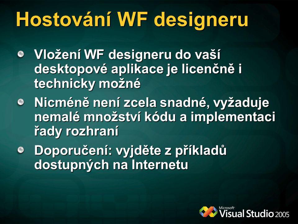 Hostování WF designeru Vložení WF designeru do vaší desktopové aplikace je licenčně i technicky možné Nicméně není zcela snadné, vyžaduje nemalé množství kódu a implementaci řady rozhraní Doporučení: vyjděte z příkladů dostupných na Internetu