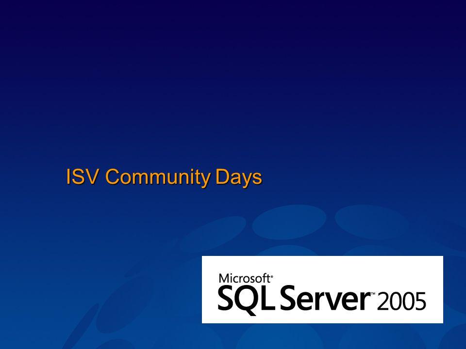 Čtvrtletně Technologická část zaměřená na jednu technologii.NET Connected Apps, Windows Server 2003 Enhanced, SQL 2005 + VS 2005, SmartClients + VS 2005 Obchodní část zaměřená na aktuální programy, nabídky, proma či obchodní informace k produktům společnosti Microsoft Příští ISV Community Days (VS 2005) 14.6.