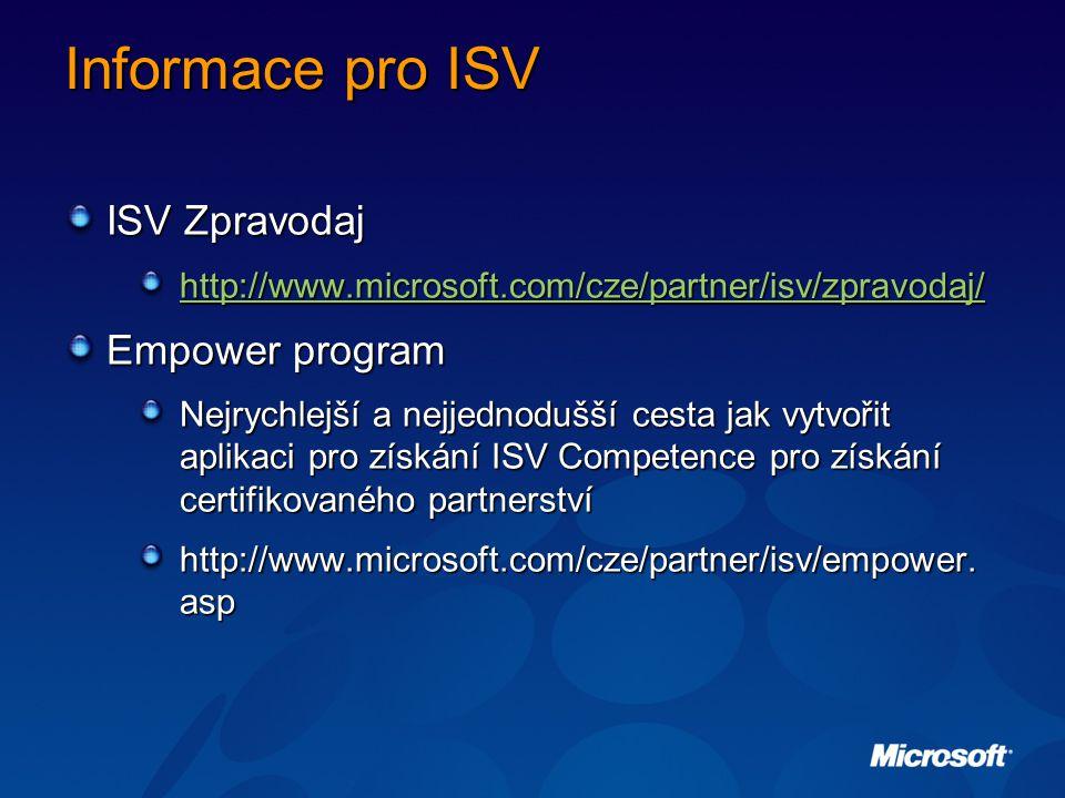 Informace pro ISV ISV Zpravodaj http://www.microsoft.com/cze/partner/isv/zpravodaj/ Empower program Nejrychlejší a nejjednodušší cesta jak vytvořit aplikaci pro získání ISV Competence pro získání certifikovaného partnerství http://www.microsoft.com/cze/partner/isv/empower.