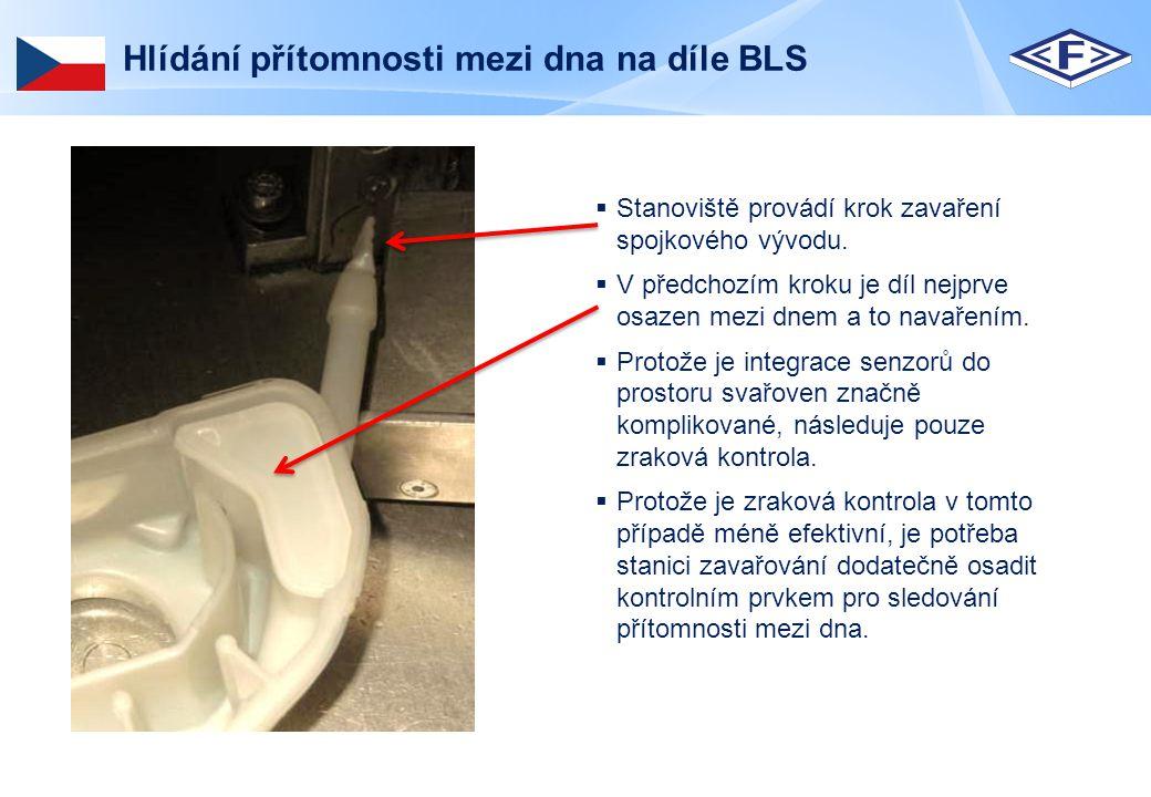 Hlídání přítomnosti mezi dna na díle BLS  Díl je před zahájením operace založen do standardizovaného přípravku.
