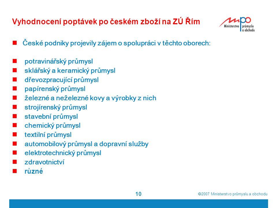  2007  Ministerstvo průmyslu a obchodu 10 Vyhodnocení poptávek po českém zboží na ZÚ Řím České podniky projevily zájem o spolupráci v těchto oborec