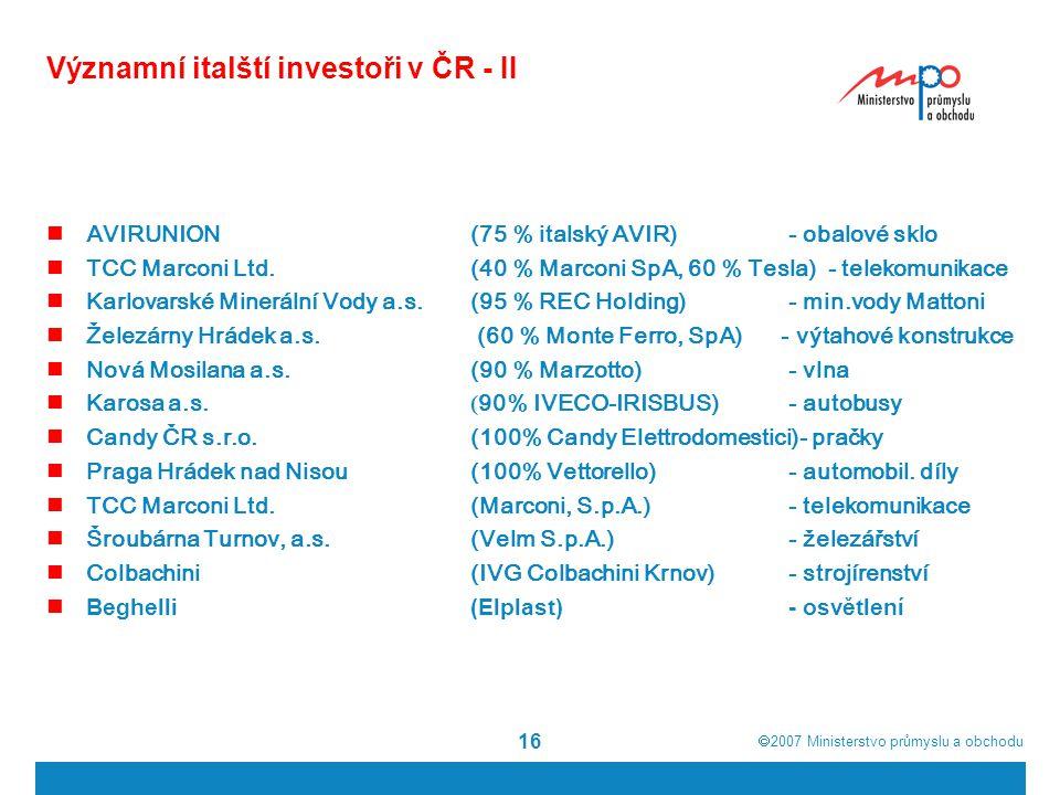  2007  Ministerstvo průmyslu a obchodu 16 Významní italští investoři v ČR - II AVIRUNION (75 % italský AVIR) - obalové sklo TCC Marconi Ltd. (40 %