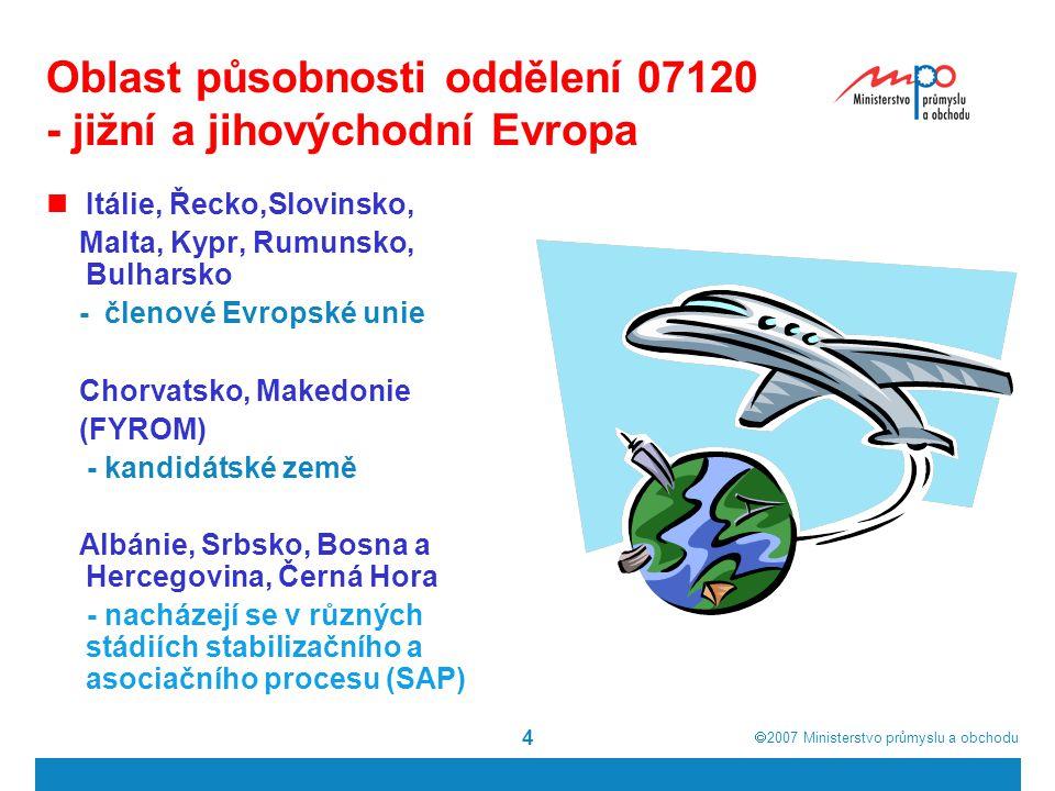  2007  Ministerstvo průmyslu a obchodu 4 Oblast působnosti oddělení 07120 - jižní a jihovýchodní Evropa Itálie, Řecko,Slovinsko, Malta, Kypr, Rumun