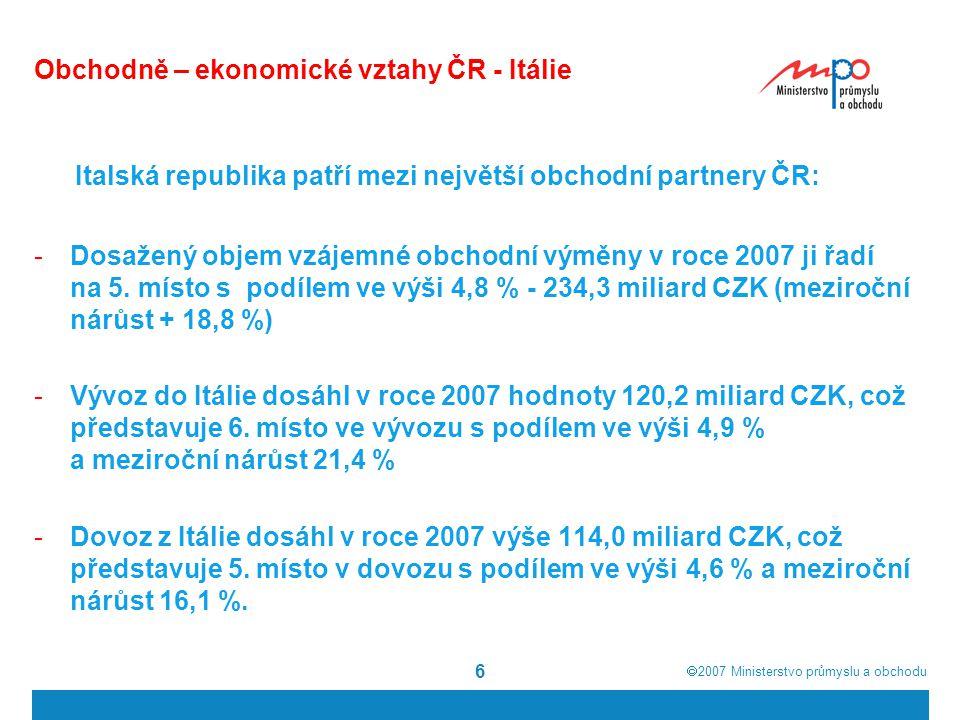  2007  Ministerstvo průmyslu a obchodu 6 Obchodně – ekonomické vztahy ČR - Itálie Italská republika patří mezi největší obchodní partnery ČR: -Dosa