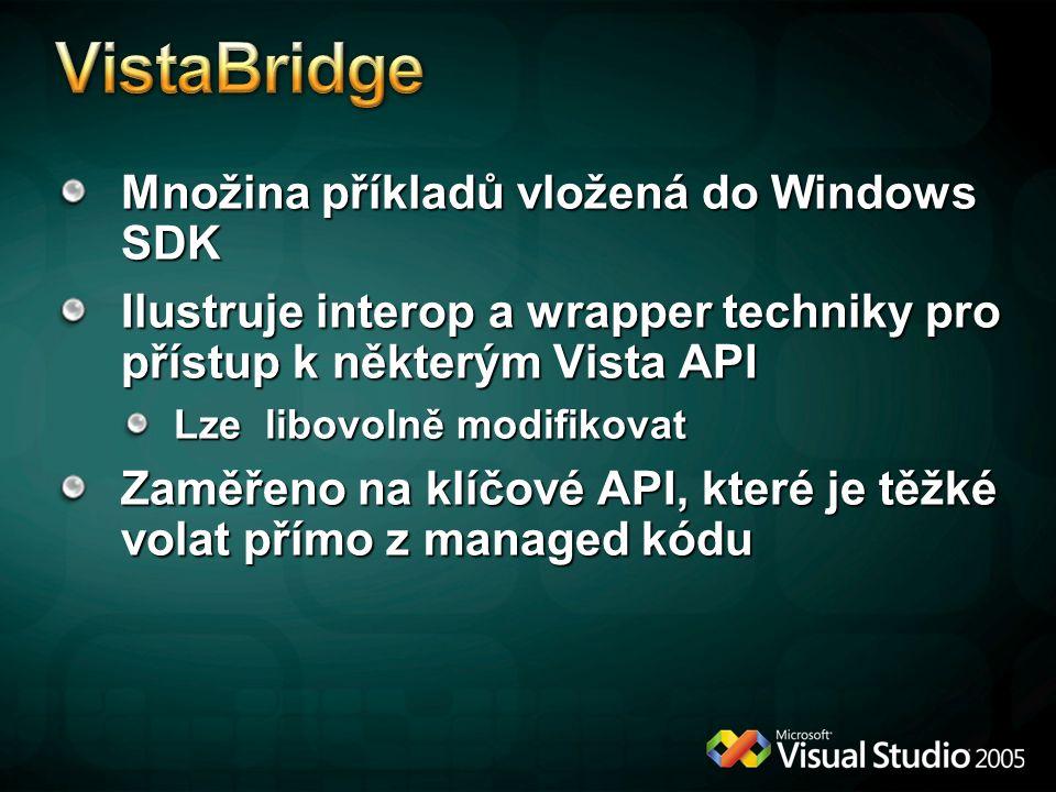 Množina příkladů vložená do Windows SDK Ilustruje interop a wrapper techniky pro přístup k některým Vista API Lze libovolně modifikovat Zaměřeno na klíčové API, které je těžké volat přímo z managed kódu