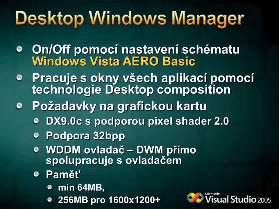 On/Off pomocí nastavení schématu Windows Vista AERO Basic Pracuje s okny všech aplikací pomocí technologie Desktop composition Požadavky na grafickou kartu DX9.0c s podporou pixel shader 2.0 Podpora 32bpp WDDM ovladač – DWM přímo spolupracuje s ovladačem Paměť min 64MB, 256MB pro 1600x1200+