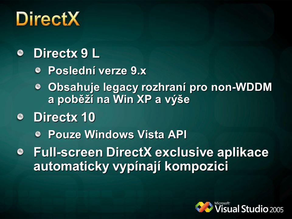 Directx 9 L Poslední verze 9.x Obsahuje legacy rozhraní pro non-WDDM a poběží na Win XP a výše Directx 10 Pouze Windows Vista API Full-screen DirectX exclusive aplikace automaticky vypínají kompozici