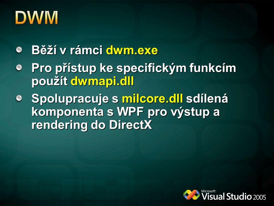 Běží v rámci dwm.exe Pro přístup ke specifickým funkcím použít dwmapi.dll Spolupracuje s milcore.dll sdílená komponenta s WPF pro výstup a rendering do DirectX