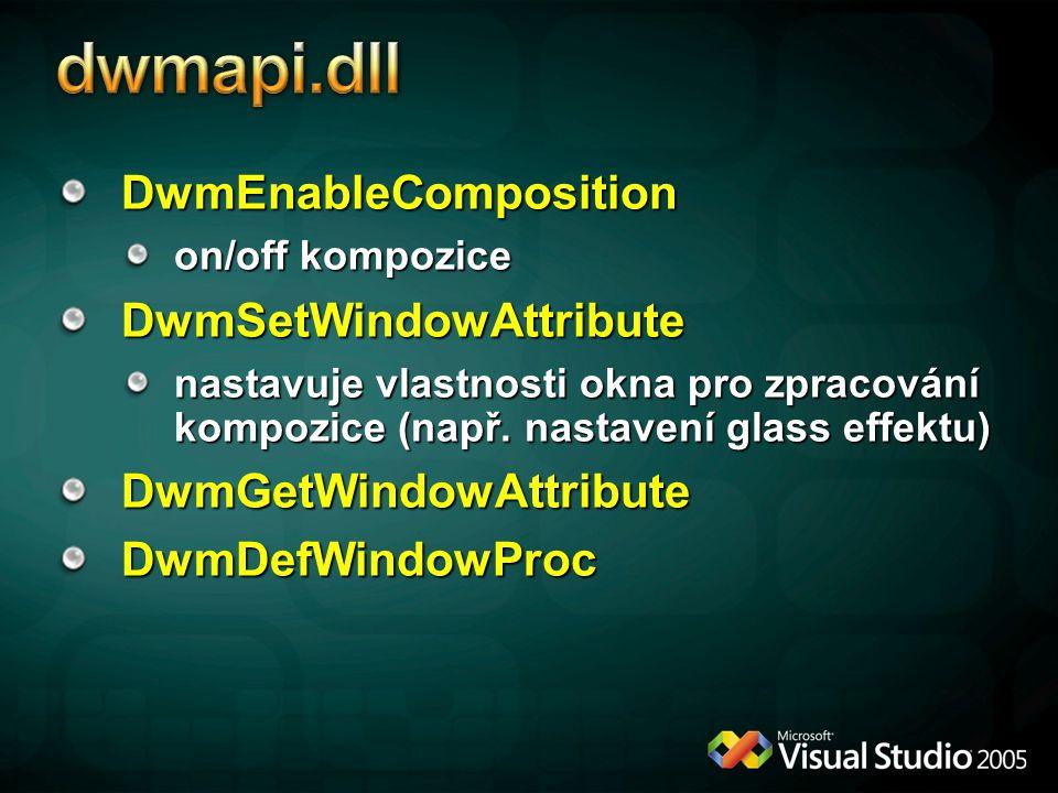 DwmEnableComposition on/off kompozice DwmSetWindowAttribute nastavuje vlastnosti okna pro zpracování kompozice (např.