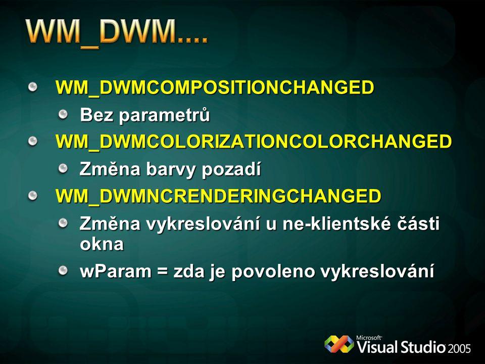 WM_DWMCOMPOSITIONCHANGED Bez parametrů WM_DWMCOLORIZATIONCOLORCHANGED Změna barvy pozadí WM_DWMNCRENDERINGCHANGED Změna vykreslování u ne-klientské části okna wParam = zda je povoleno vykreslování