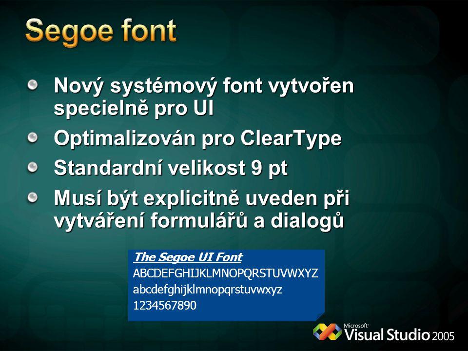 Nový systémový font vytvořen specielně pro UI Optimalizován pro ClearType Standardní velikost 9 pt Musí být explicitně uveden při vytváření formulářů a dialogů The Segoe UI Font ABCDEFGHIJKLMNOPQRSTUVWXYZ abcdefghijklmnopqrstuvwxyz 1234567890