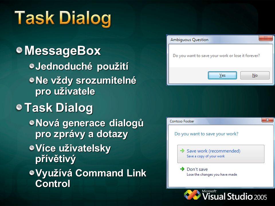 MessageBox Jednoduché použití Ne vždy srozumitelné pro uživatele Task Dialog Nová generace dialogů pro zprávy a dotazy Více uživatelsky přívětivý Využívá Command Link Control