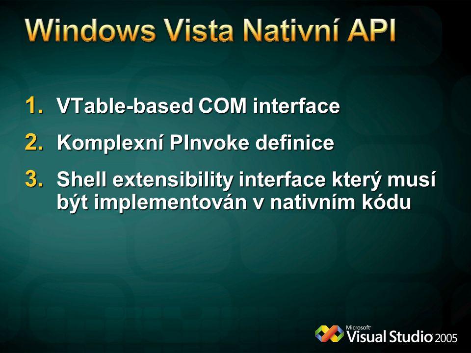 1.VTable-based COM interface 2. Komplexní PInvoke definice 3.