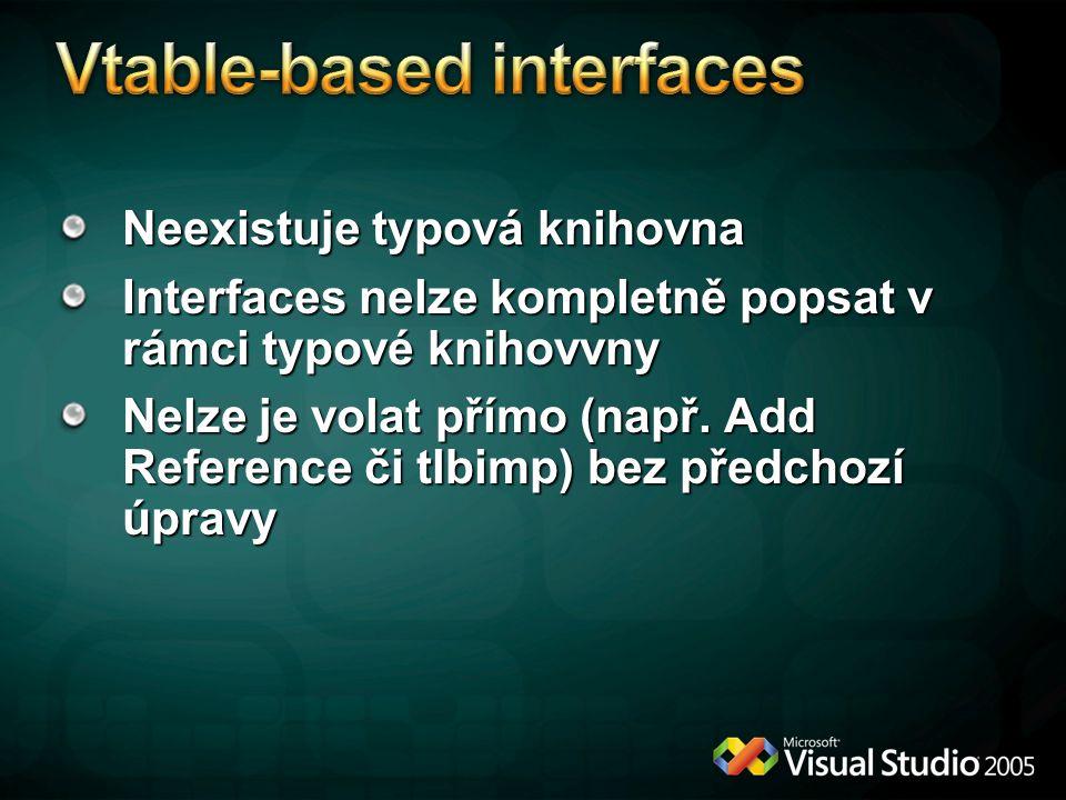 Neexistuje typová knihovna Interfaces nelze kompletně popsat v rámci typové knihovvny Nelze je volat přímo (např.