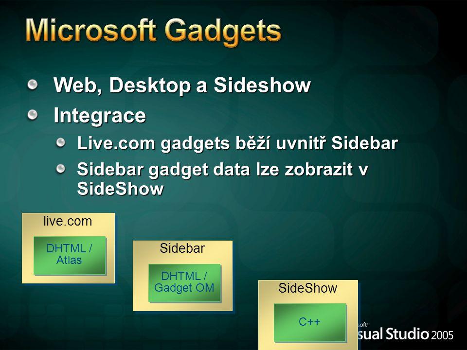Web, Desktop a Sideshow Integrace Live.com gadgets běží uvnitř Sidebar Sidebar gadget data lze zobrazit v SideShow live.com DHTML / Atlas Sidebar DHTML / Gadget OM SideShow C++